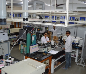 Students working in the new lab